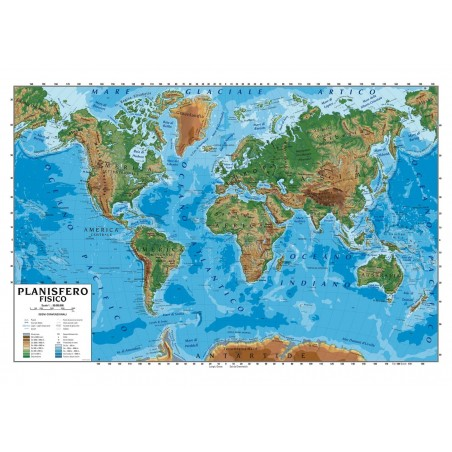 Carta geografica murale Planisfero 100x140 scolastica  bifacciale fisica e politica