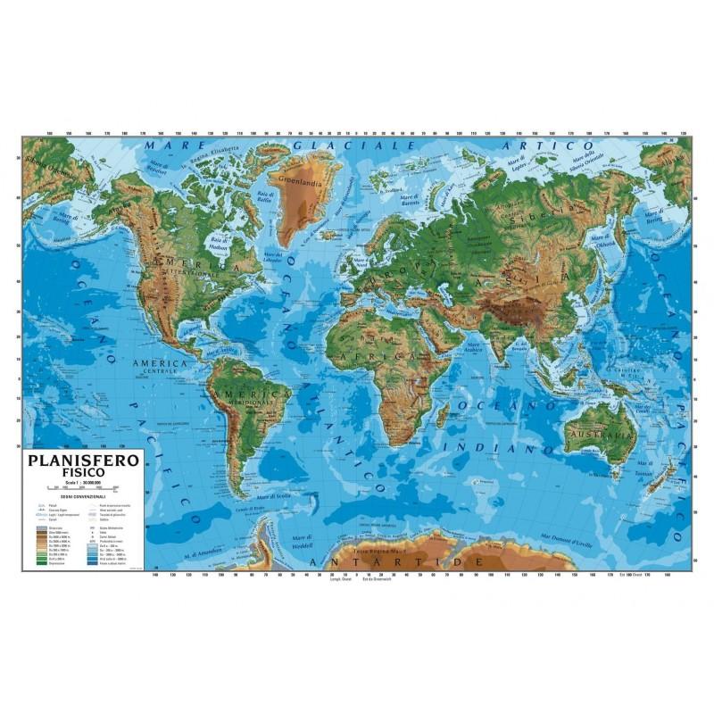 carta geografica murale planisfero mondo 100x140