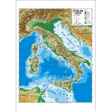 Cartina Politica E Fisica Italia.Carta Geografica Murale Italia 100x140 Bifacciale Fisica E Politica