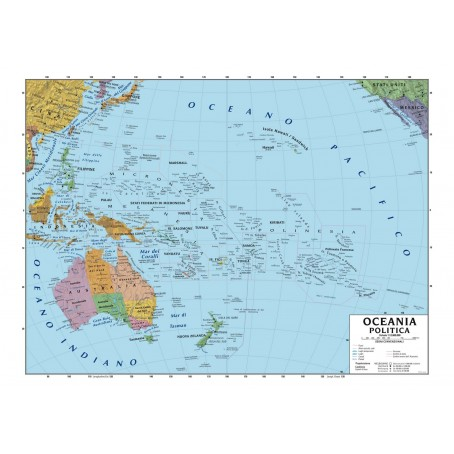 Carta geografica murale Oceania 100x140 bifacciale fisica e politica