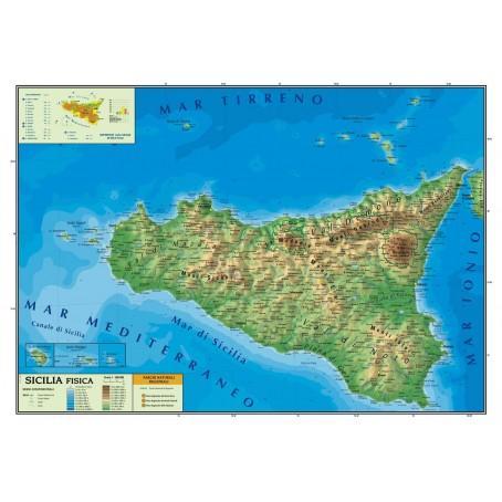 Cartina Fisica E Politica.Carta Geografica Murale Sicilia 100x140 Bifacciale Fisica E Politica
