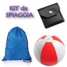 Kit da spiaggia : zaino a sacca , pallone gonfiabile e posacenere tascabile