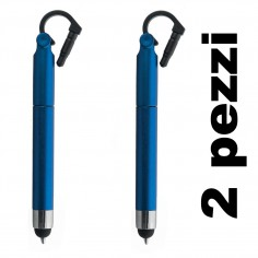 Penna sfera touch pen 3 in 1 mini (2 pezzi) pennino capacitivo touchscreen blu