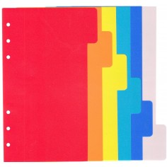 Ricambio divisori colorati in PPL 9 5x17 per agende organizer ( 6 fogli)