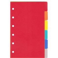 Ricambio divisori colorati in PPL  7,7x12,7 per agende organizer ( 6 fogli)