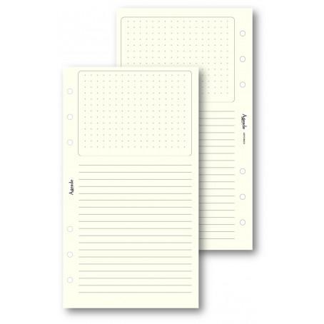 Ricambio fogli Dots Grid con Righe avorio 9,5x170 ( 50 fogli ) per agenda organizer