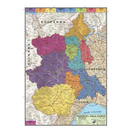 Carta geografica murale regionale Piemonte e Valle D'Aosta 100x140 bifacciale fisica e politica