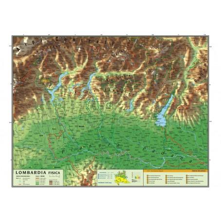 La Lombardia Cartina Fisica.Carta Geografica Murale Regionale Lombardia 100x140 Bifacciale Fisica E Politica Teachfornigeria Org
