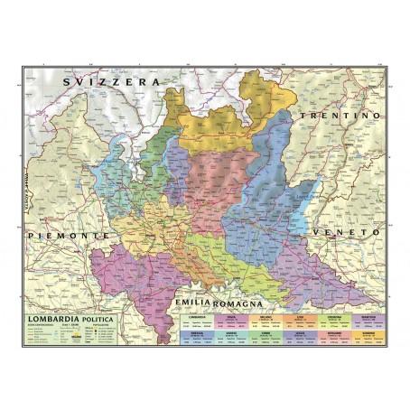 Carta geografica murale regionale Lombardia 100x140 bifacciale fisica e politica