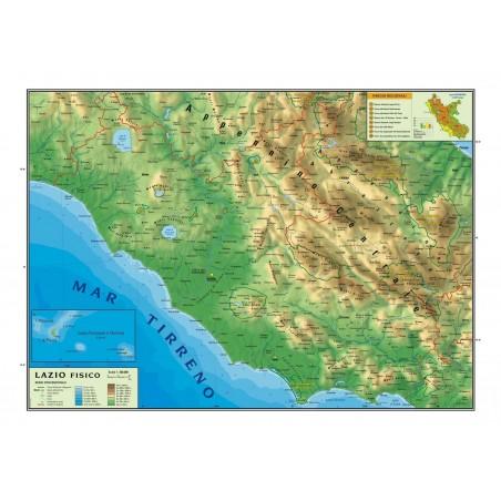 Carta geografica murale regionale Lazio  100x140 bifacciale fisica e politica