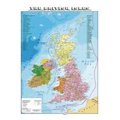 Carta geografica murale Gran Bretagna in lingua madre inglese 100x140 bifacciale fisica e politica