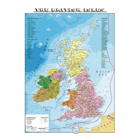 Cartina Geografica Dell Inghilterra Politica.Carta Geografica Murale Italia 100x140 Bifacciale Fisica E Politica