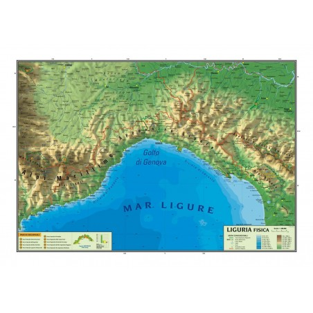 Carta geografica murale regionale Liguria  100x140 bifacciale fisica e politica