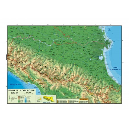 Carta geografica murale regionale Emilia Romagna 100x140 bifacciale fisica e politica