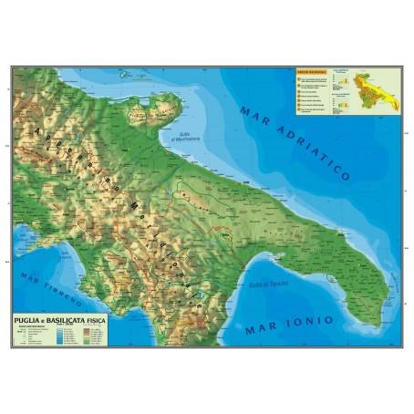 Puglia Cartina Fisica.Carta Geografica Murale Regionale Puglia Basilicata 100x140 Bifacciale Fisica E Politica