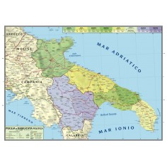 Carta geografica murale regionale Puglia - Basilicata 100x140 bifacciale fisica e politica