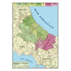 Carta geografica murale regionale Abruzzo - Molise 100x140 bifacciale fisica e politica