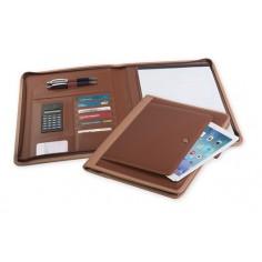 Portablocco cartella sottobraccio con porta tablet in ecopelle wien con cerniera 28x35 marrone