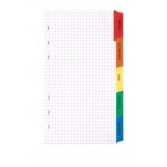 Ricambio divisori colorati in ppl 9,5x17 VERTICALE per agende organizer 3 fogli