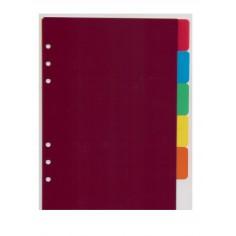 Ricambio divisori colorati in ppl 14,5x21 per agende organizer ( 6 fogli)
