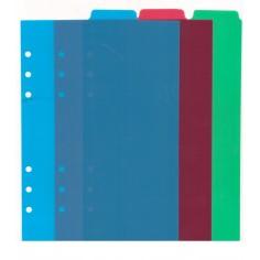 Ricambio divisori colorati in ppl VERTICALE 14,5x21 per agende organizer ( 3 fogli)