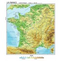 Carta geografica murale Francia in lingua madre francese 100x140 bifacciale fisica e politica