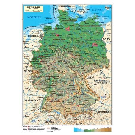 Cartina Fisica Germania In Italiano.Carta Geografica Murale Italia 100x140 Bifacciale Fisica E Politica