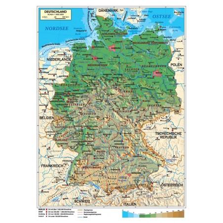 La Germania Cartina Geografica.Carta Geografica Murale Germania In Lingua Tedesca 100x140 Bifacciale Fisica E Politica Omaggio Penna E Astuccio In Metallo