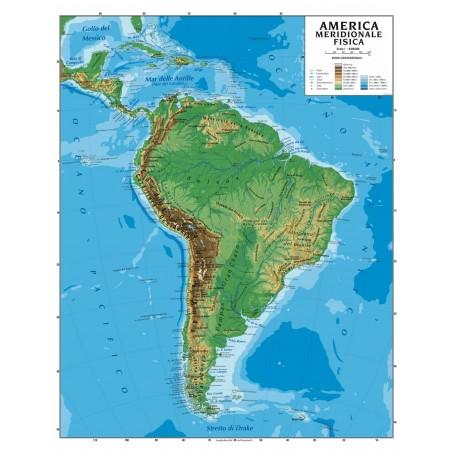Cartina Fisica E Politica.Carta Geografica Murale America Del Sud 100x140 Bifacciale Fisica E Politica