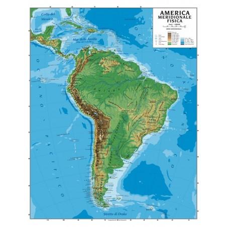 Carta geografica murale America meridionale 100x140 bifacciale fisica e politica