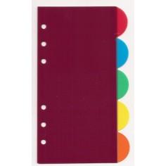 Ricambio divisori colorati in ppl 9,5x17 TONDI per agende organizer ( 5 fogli)