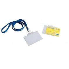 Porta badge in plastica rigida con laccio per carte di credito e tessera magnetica 2pz