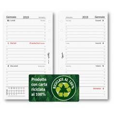 Ricambio agenda 2019 settimanale riciclata 9,5 x 17 bilingua ricambio agenda organizer