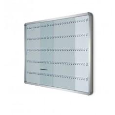 Bacheca portachiavi da 180 posti con ante scorrevoli in vetro e struttura alluminio 90x120 cm