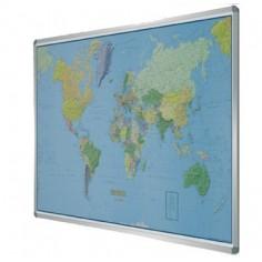 Carta geografica Planisfero su pannello magnetico ( 100x140) con cornice in alluminio