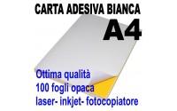 Etichette adesive bianche A4 opaca ( 100 fogli ) 21x29,7 stampanti laser inkjet fotocopiatrice