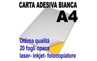Etichette adesive bianche A4 opaca ( 20 fogli ) 21 x 29,7 stampanti laser inkjet fotocopiatrice