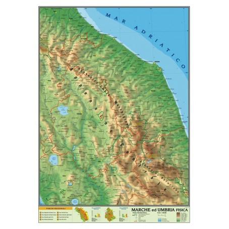 Cartina Fisica Dell Umbria Da Stampare.Carta Geografica Murale Regionale Marche Umbria 100x140 Bifacciale Fisica E Po Ebay