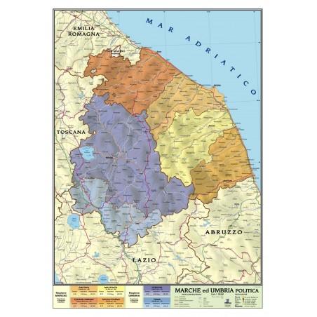 Carta geografica murale regionale Marche - Umbria 100x140 bifacciale fisica e politica