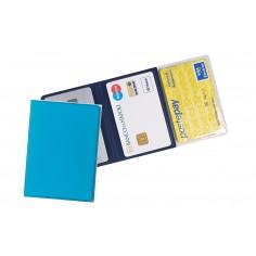 Porta carte di credito e tessere magnetiche 3 tasche ( 2 pezzi ) in PVC azzurro