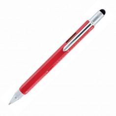 Penna 9 funzioni in metallo a sfera con Touch, livella, cacciavite e vari righelli - colore rosso