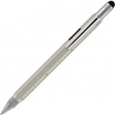 Penna 9 funzioni in metallo a sfera con Touch, livella, cacciavite e vari righelli - colore silver