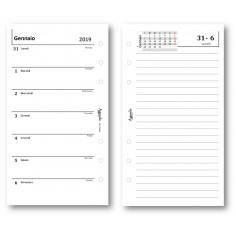 Ricambio agenda 2019 settimanale con note bianca ( carta 90 gr ) 9,5 x 17 ricambio agenda organizer