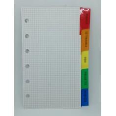 Ricambio divisori con alette colorate 7x12 per agenda organizer