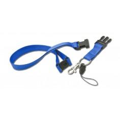 cordoncino con clip di sicurezza separabile dal portabadge, anello portachiavi , porta cellullare ( 5 pezzi ) - blu