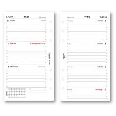 Ricambio agenda 2019 settimanale bianco in lingua Spagnola ( 90 gr ) 9,5 x 17 bilingua ricambio agenda organizer