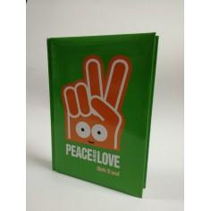 Diario scuola 10 mesi PEACE and LOVE 2019 verde 13x18 cm