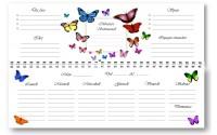 Planning agenda da tavolo settimanale spiralata FARFALLE senza data con note ( carta 90 gr ) 10x30 - planner da tavolo